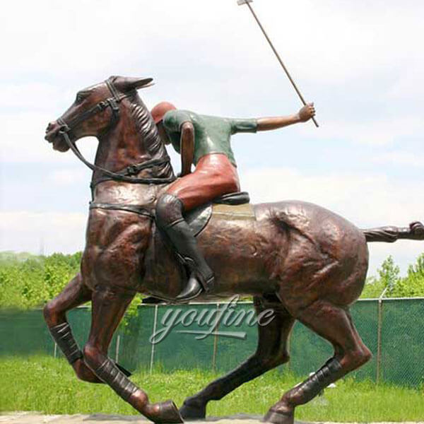 life size bronze horse statue with rocky sculpture