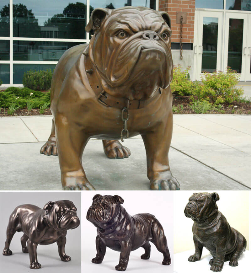 outdoor bronze bulldog statue