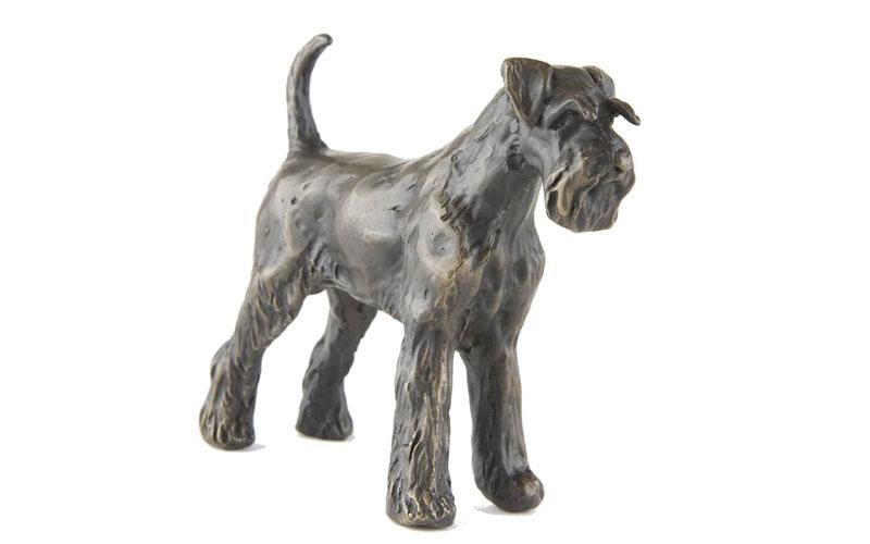 Cheap Animal Bronze Statue Hand Mades Life Size Garden Decorative Bronze Schnauzer Dog Statue for Sale