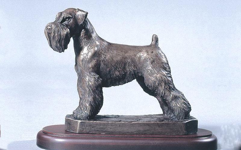 Cheap Animal Bronze Statue Hand Mades Life Size Garden Decorative Bronze Schnauzer Dog Statues for Sale
