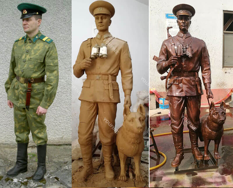 Custom-made bronze- military life size solidand-dog statues from photo