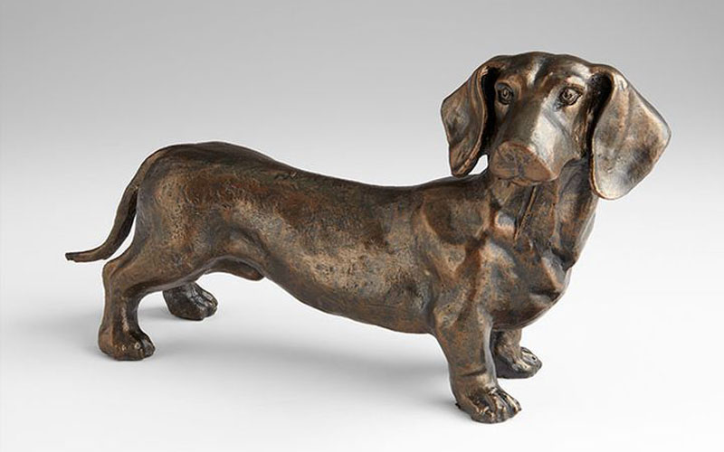 Life Size Bronze Animal Statue Dog Statue Lawn Ornaments Life Size Decorative Bronze Dachshund Statue for Sale