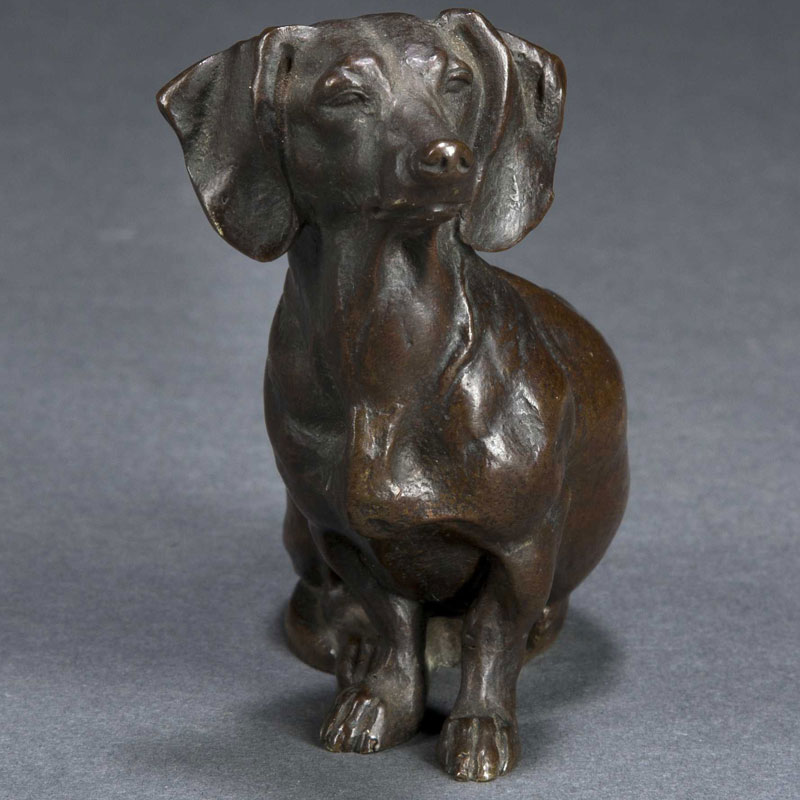 Life Size Bronze Animal Statues Dog Statue Lawn Ornament Life Size Decorative Bronze Dachshund Statue for Sale