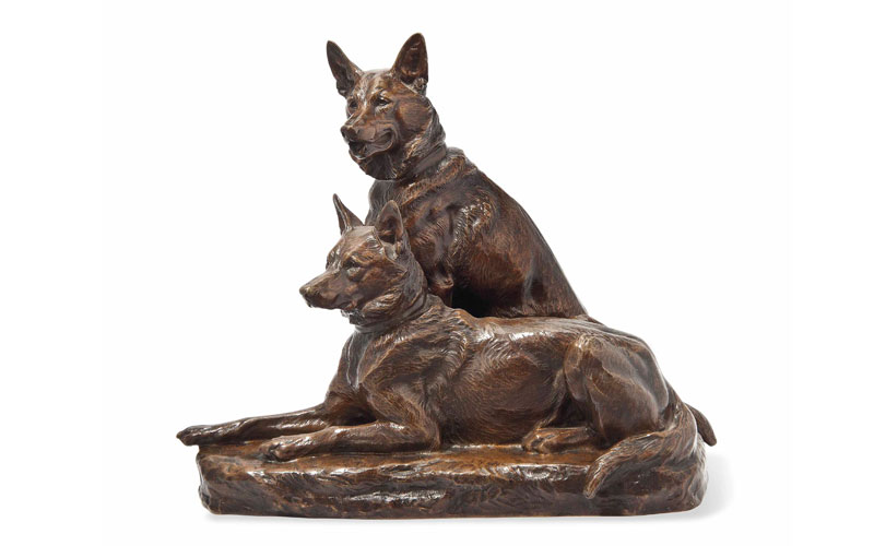 Life Size Unique Antique Bronze Handmade German Shepherd Statues for Sale