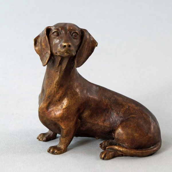 Outdoor Bronze Animal Statue Dog Statue Lawn Ornaments Life Size Decorative Bronze Dachshund Statue for Sale