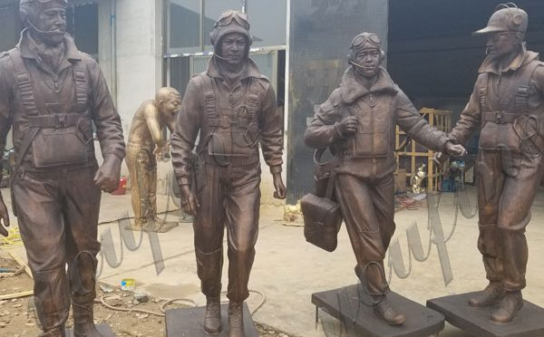 Custom Made Bronze Tuskegee Airmen Solider Statues Group for New York Museum
