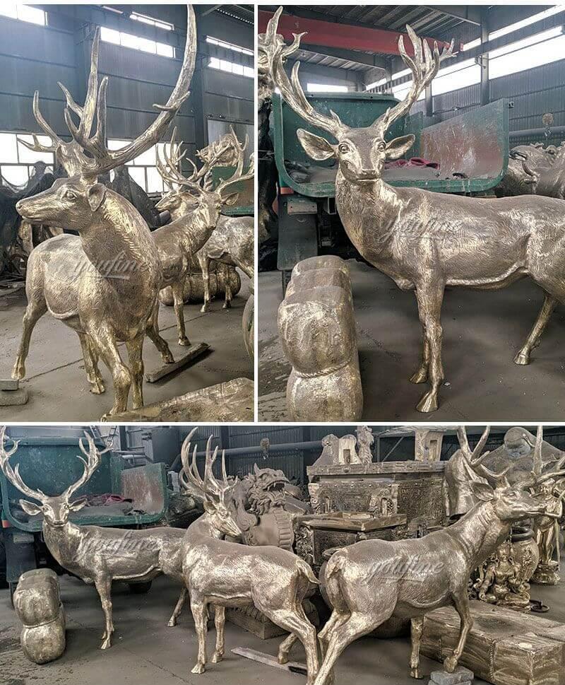 Life Size Outdoor Bronze Reindeer Statue Animal Sculpture for Sale
