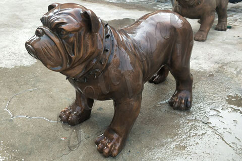 bronze large bulldog garden statue wildlife sculpture for outside