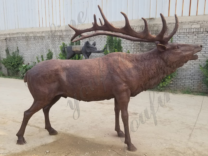 outdoor bronze life size elk statue sculpture for sale