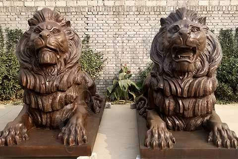 BL-01 outdoor custom bronze pair lion statues/sculptures for driveway