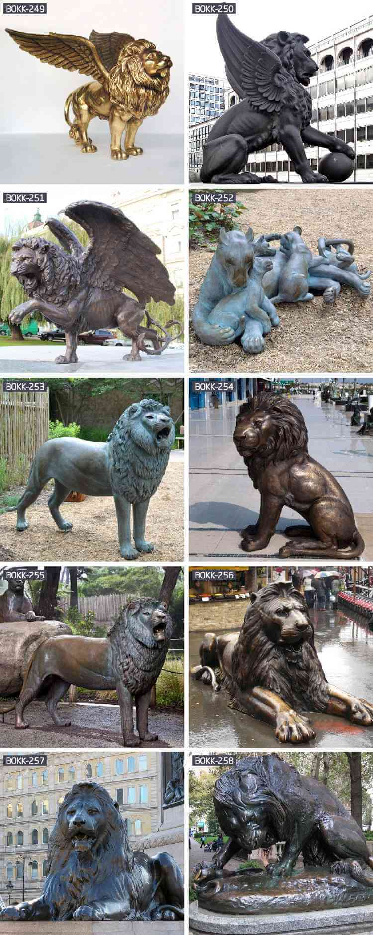 outdoor custom bronze pair lion statues