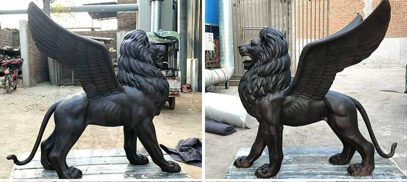 outdoor-life-size-bronze-black-lion-statue-for-front-gate