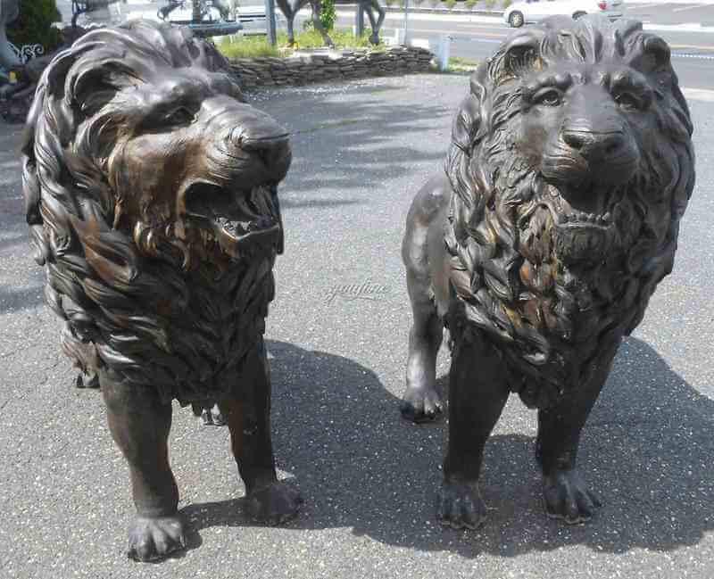 Outdoor Life Size Pair of Majestic Bronze Lion Garden Statue