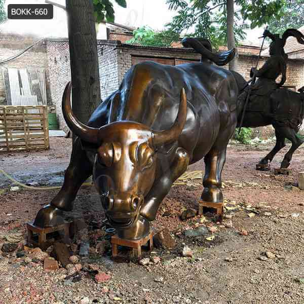 Famous full size  bronze wall street bull sculpture replica for sale
