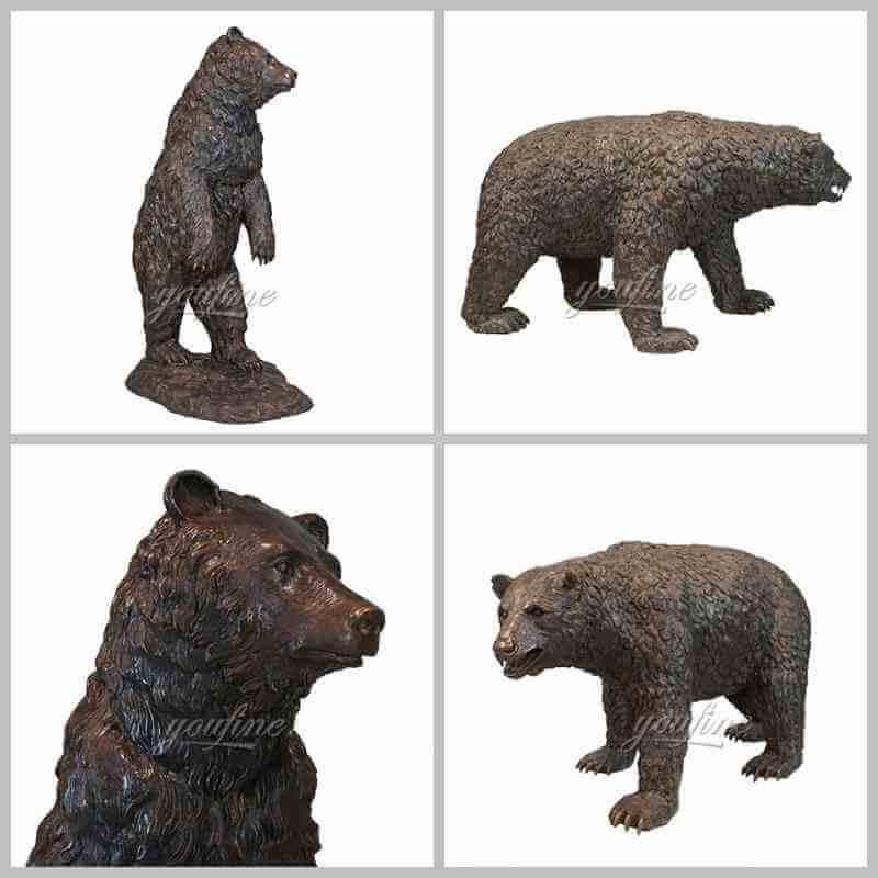 Large bronze black bear sculpture