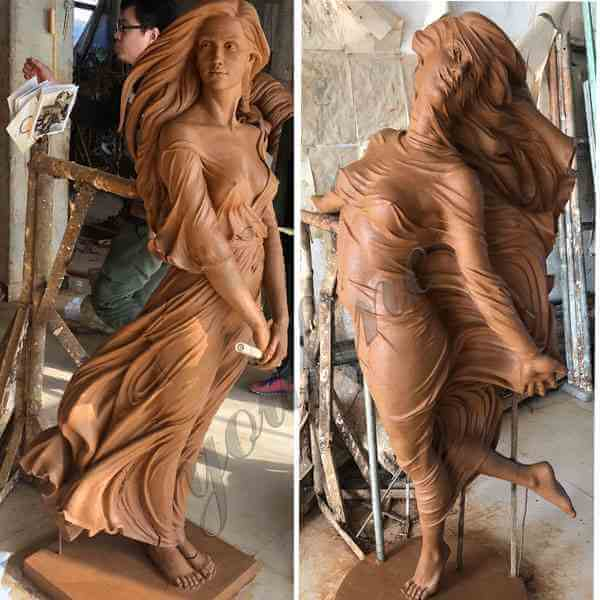 life size beautiful female garden statues woman statue girl statue clay model before casting