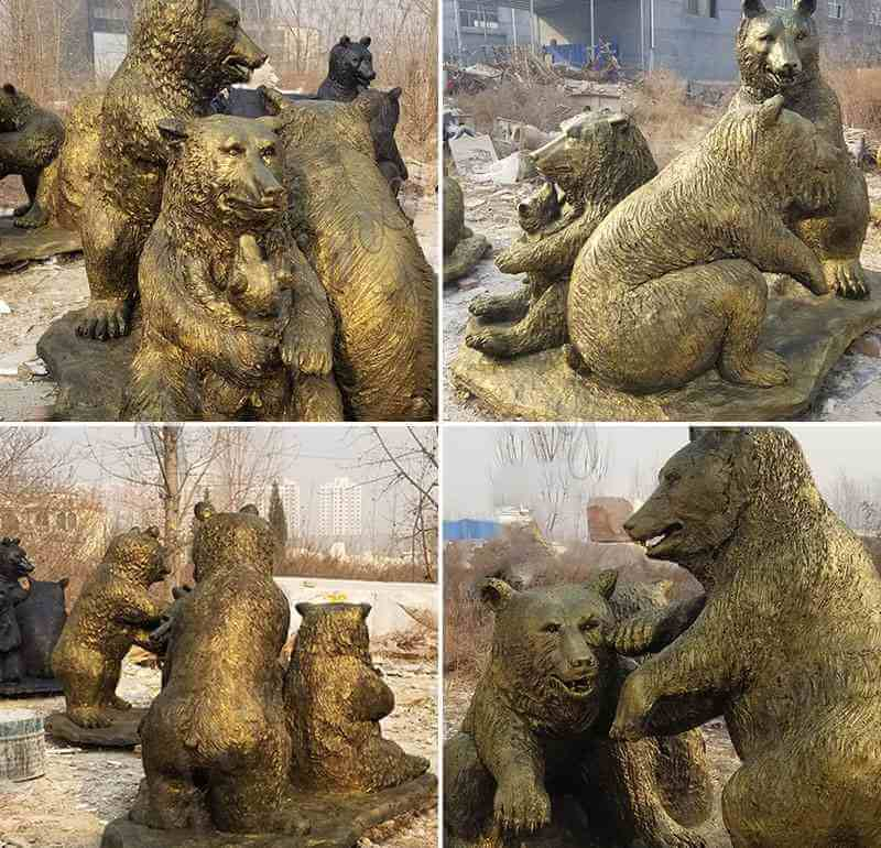 outdoor bronze life size grizzly bear statues for sale garden animal sculpture