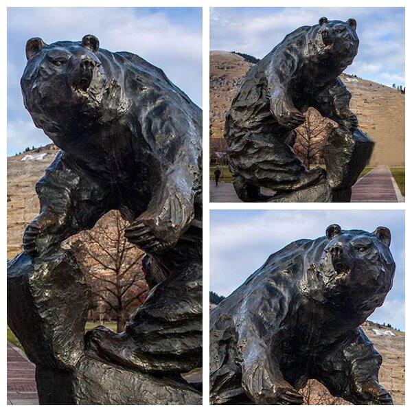 life-size bronze bear sculpture