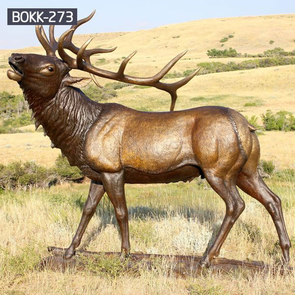 BOKK-273 Outdoor Bronze Monster bull elk Statue North American Wildlife Sculptures