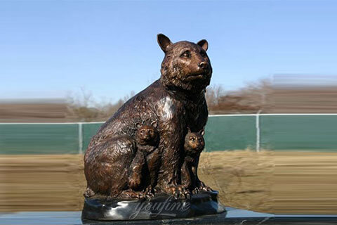 BOKK-676 Ourdoor Life Size Bronze Casting Momma Bear with Cubs statue wildlife sculpture for sale