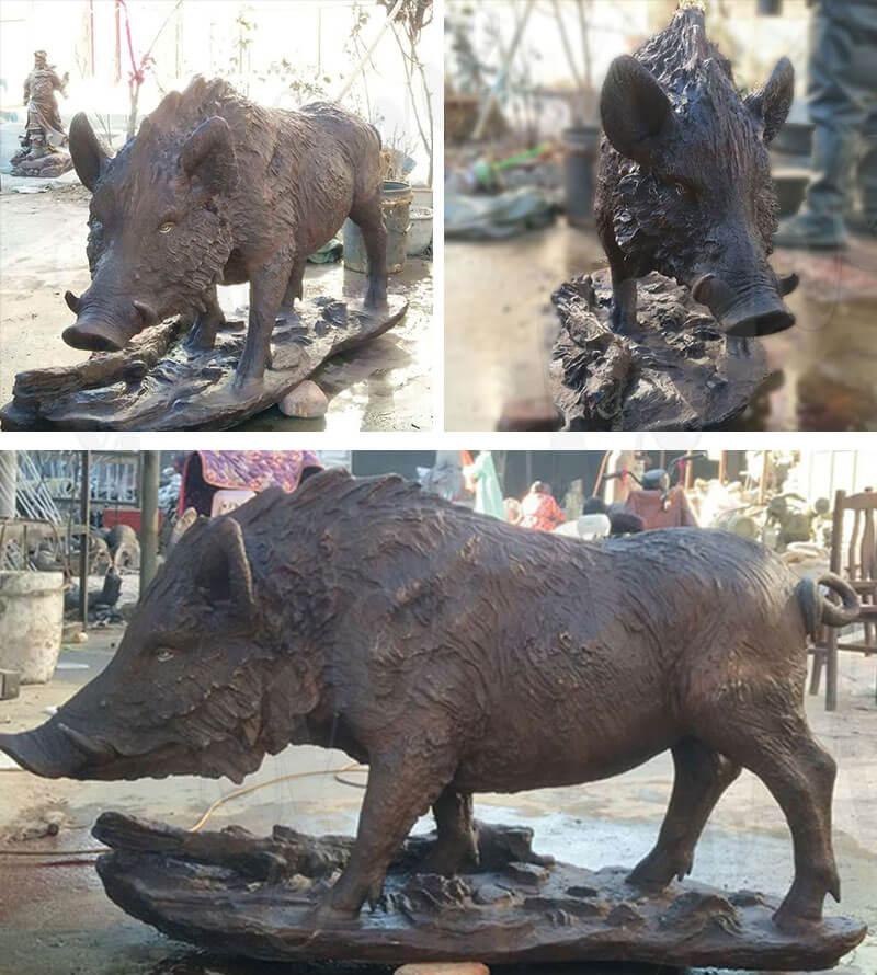 BOKK-686 life size bronze wild boar statue for sale
