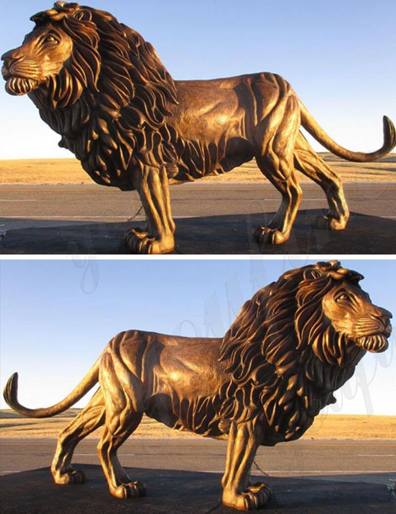 Custom bronze life size lion sculpture animal statues for front door