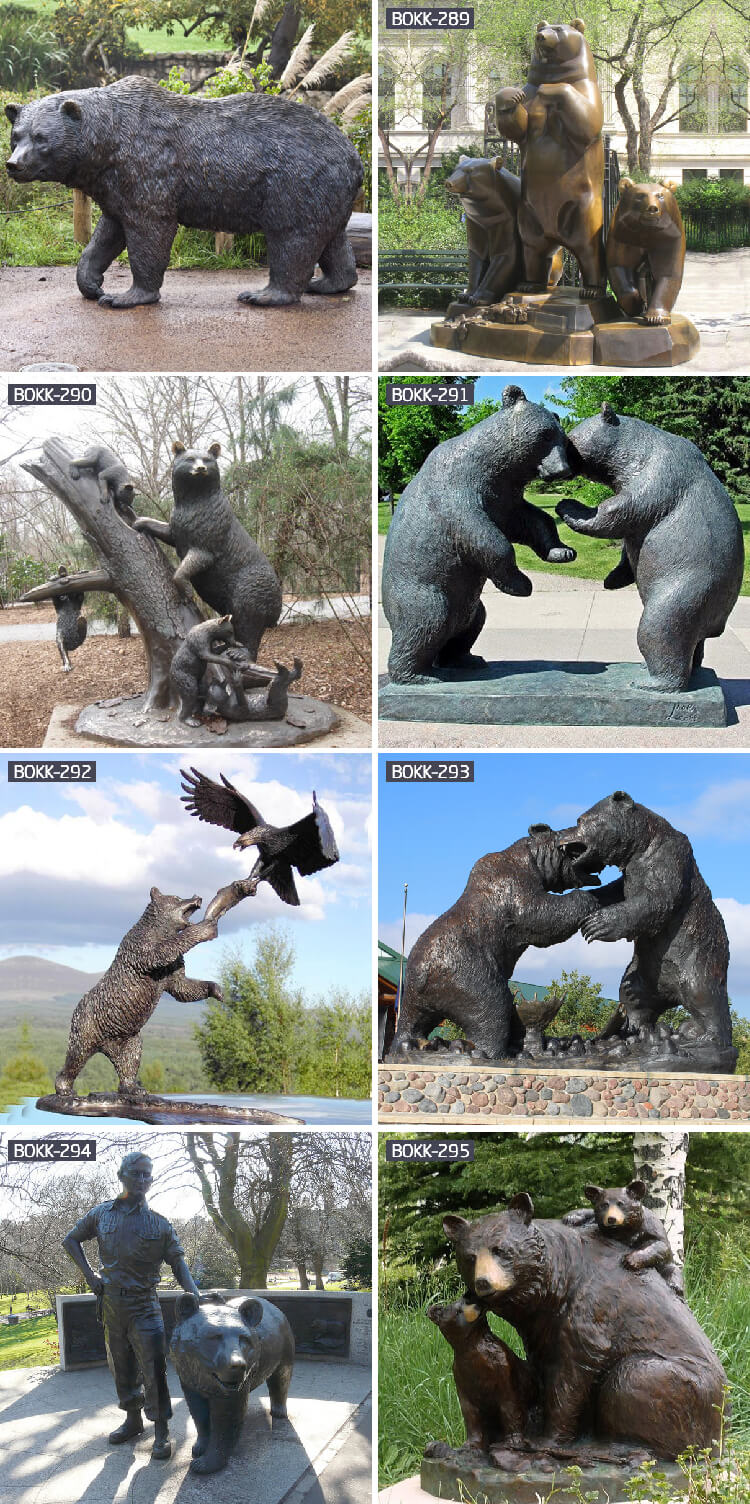 life-size bronze cast bear statue