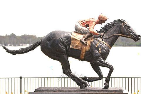 Racing Horse Bronze Statues Black Horse Sculpture for Sale BOKK-678