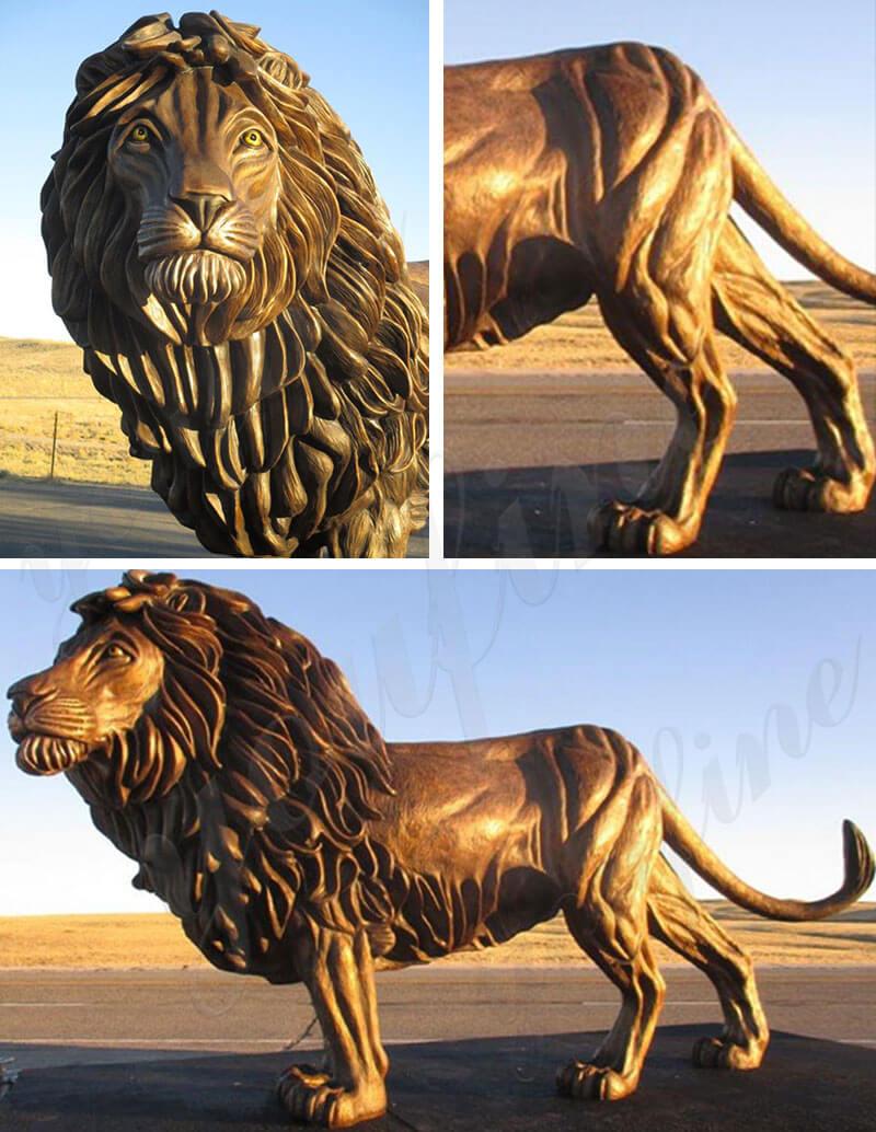 bronze life size lion sculpture animal statues for front porch