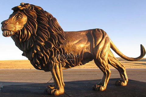 Custom bronze life size lion sculpture animal statues for front door