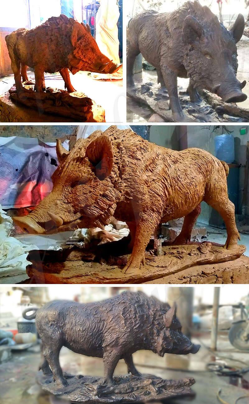 bronze wild boar statue for sale