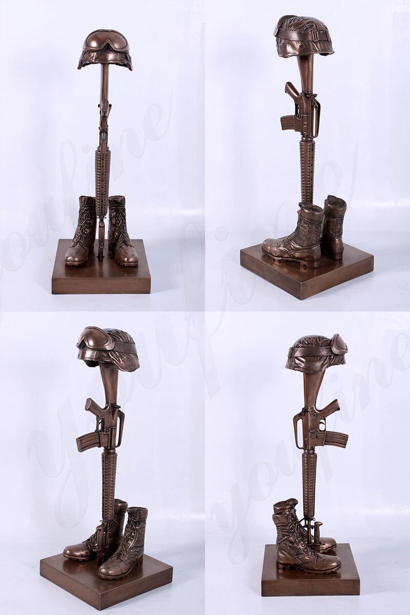 Bronze Fallen Soldier Memorial Statue Battle Cross Sculpture Military Statues Foundry