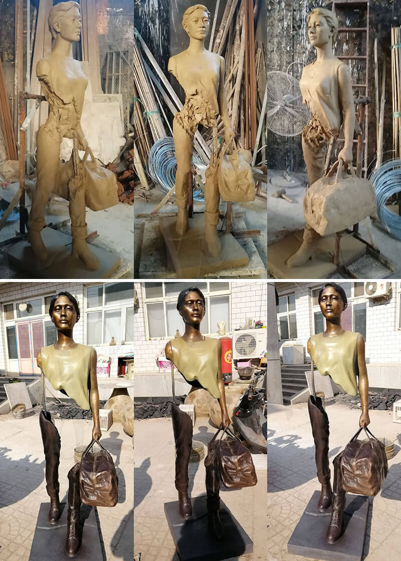 Full Size Bronze Bruno Catalano Sculpture Replica Outdoor Traveler Statue missing pieces