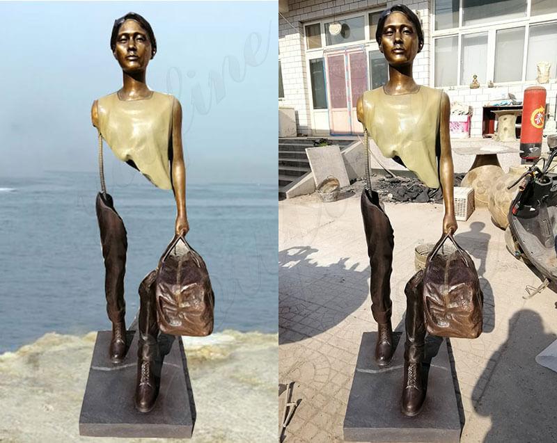 life Size Bronze Bruno Catalano Sculpture Replica Outdoor Traveler Statue