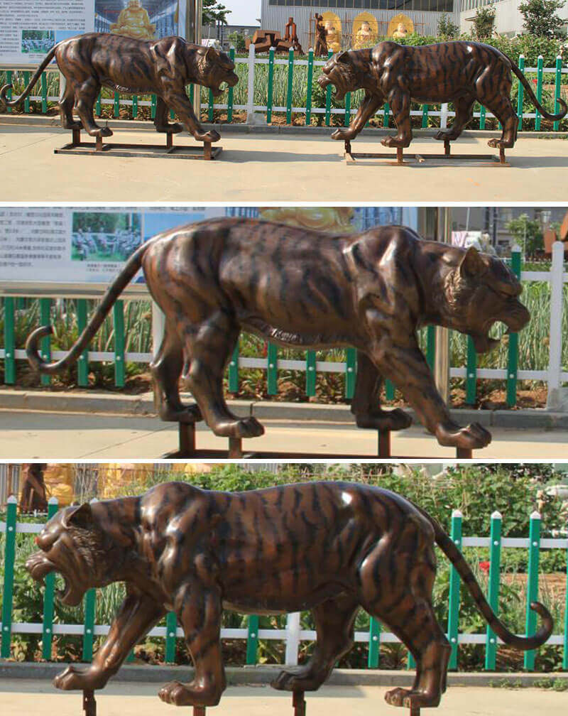 Life size bronze tiger sculpture animal wildlife statue for sale