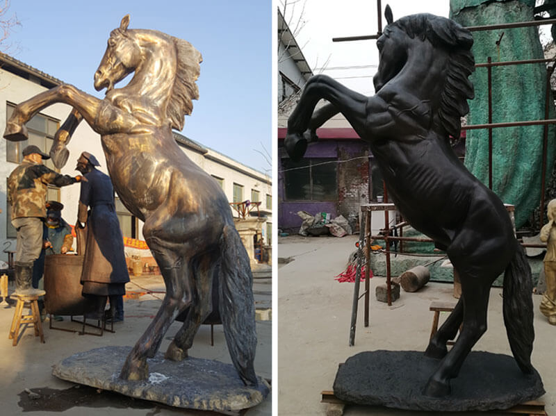 Large Outdoor Garden Decoration Bronze Rearing Horse Sculpture for Sale