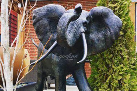 Outdoor Large Animal Sculpture Decoration Bronze Elephant Sculpture for Sale BOKK-386-2