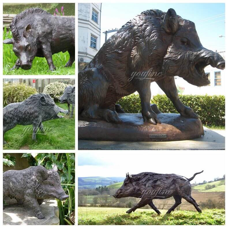 Outdoor square decoration bronze wild boar sculpture (5)