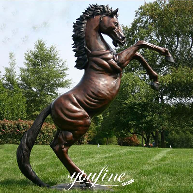 Large Outdoor Garden Decoration Bronze Rearing Horse Sculpture for Sale BOKK-560 Details