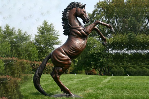Large Outdoor Garden Decoration Bronze Rearing Horse Sculpture for Sale BOKK-560