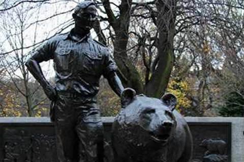 Outdoor Decoration Bronze Bear Woytek Sculpture for Sale BOKK-294