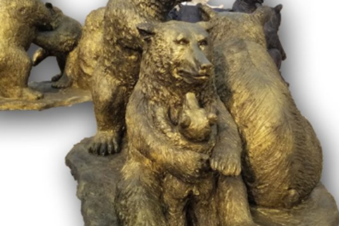 Outdoor Life Size Bronze Grizzly Family Sculpture BOKK-655