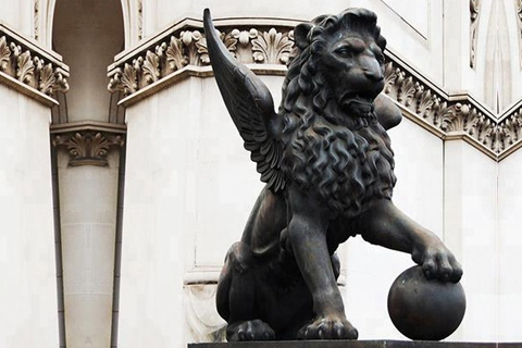 Large bronze winged lion garden sculpture with ball for sale
