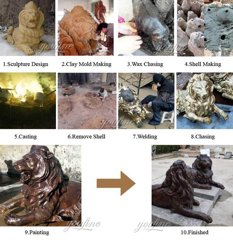 production process of large outdoor bald eagle statues