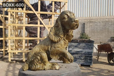 Casting Bronze Dog Springer Spaniel Statue Garden Ornaments for Sale BOKK-600