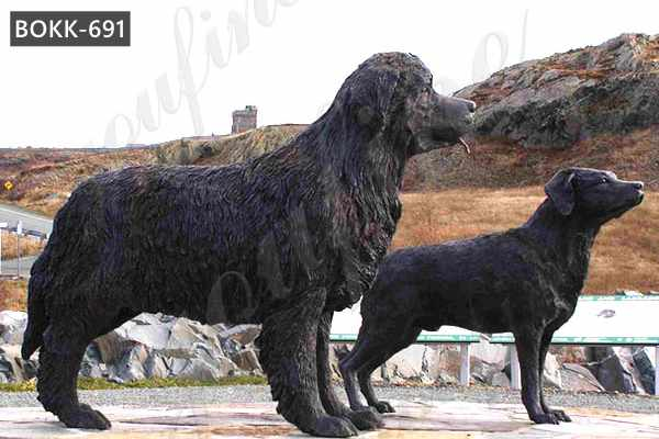 Custom Made Antique Bronze Newfoundland Dog Statue for Sale BOKK-691