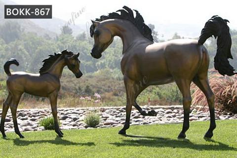 Large Antique Bronze Mare and Foal Horse Sculpture Garden Decor for Sale BOKK-867