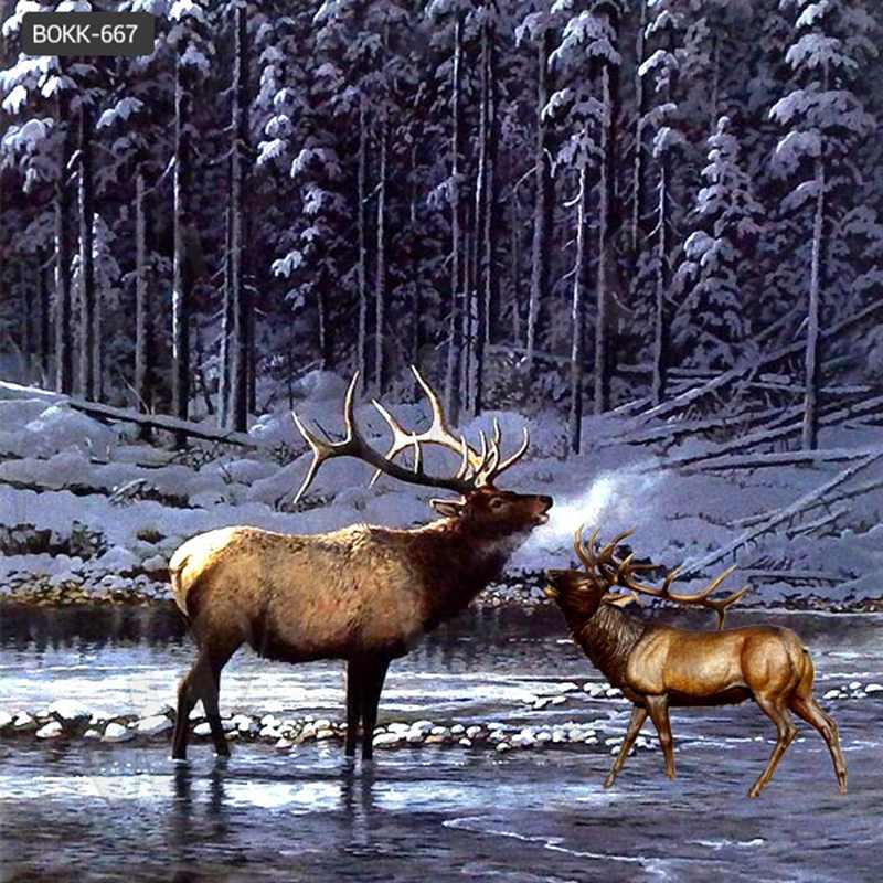 Large Outdoor Antique Bronze Deer Statue Garden Ornaments for Sale BOKK-667
