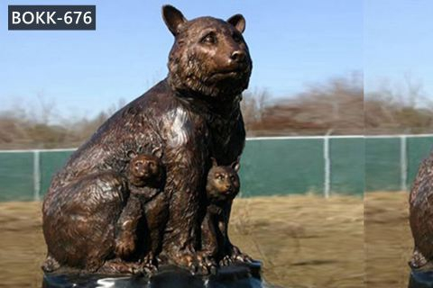 Life Size Grizzly Bronze Mother Bear and Cub Statue Garden Animal Ornaments for Sale BOKK-676
