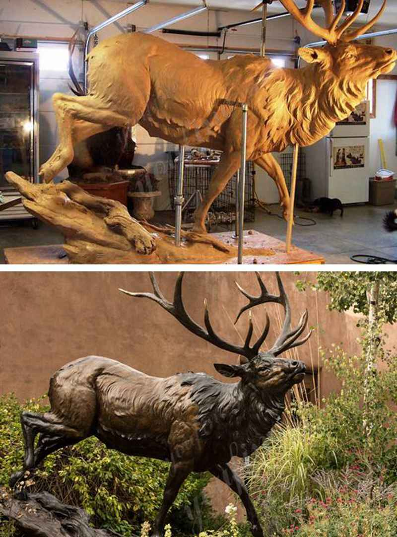 Outdoor Decorative Bronze Deer Statue Garden Decor Clay Molds